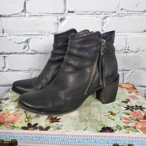 Miz Mooz Desmond Black Leather Ankle Boots